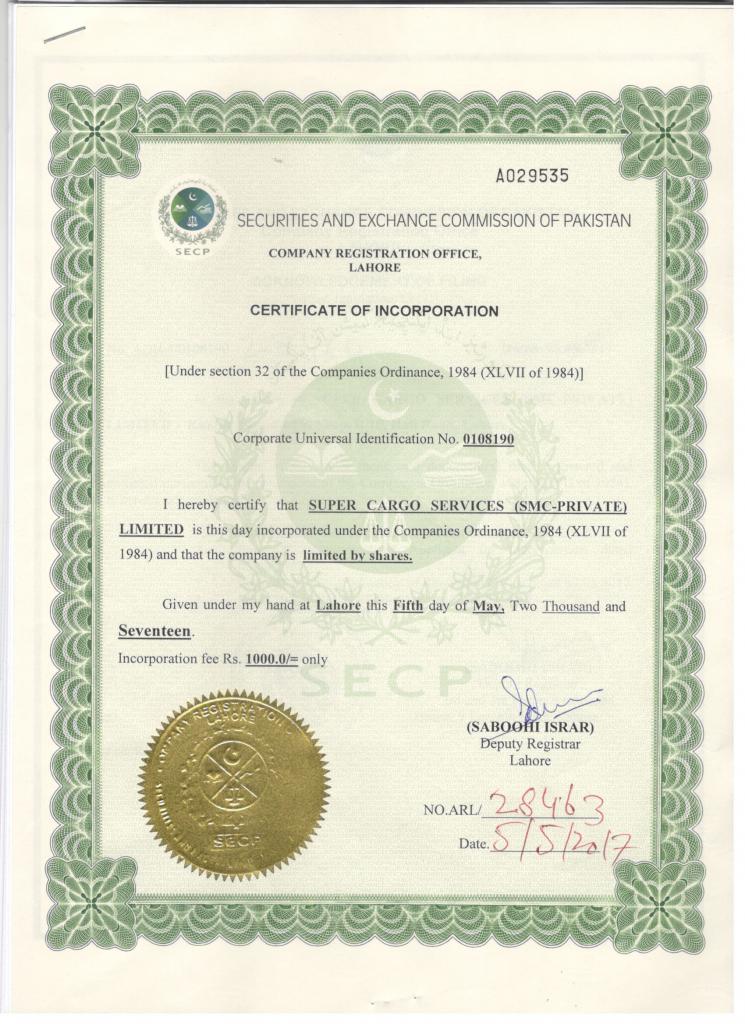 company registration certificate in Pakistan