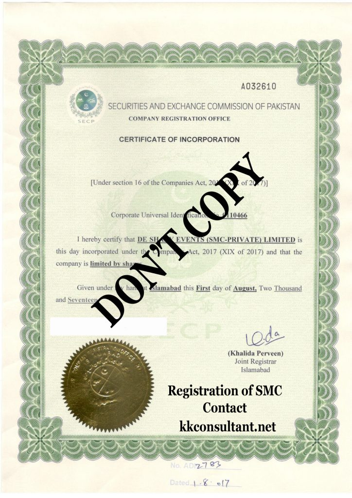 Company Registration Incorporation Certificates Pakistan
