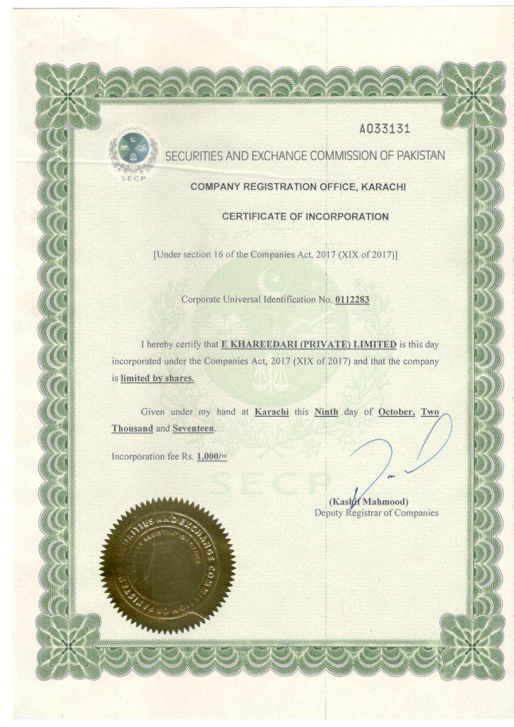 53447b46f1a company registration certificate in Pakistan. CRO Karachi