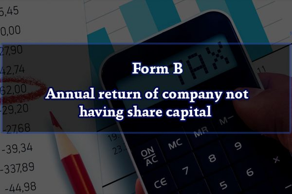 Form B – Annual return of company not having share capital